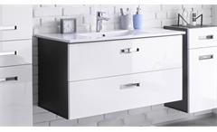 Waschbeckenunterschrank Manhattan mit Becken LED grau weiß Hochglanz Badezimmer