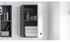 Hängeschrank Manhattan Badezimmer Bad Schrank grau weiß Hochglanz 1-türig