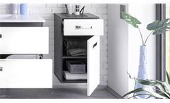 Unterschrank Manhattan Badezimmer Bad Hängeschrank in grau weiß Hochglanz