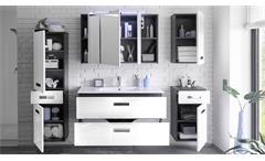Badezimmer Set Manhattan 5-tlg grau weiß Hochglanz Badmöbel mit Becken & LED