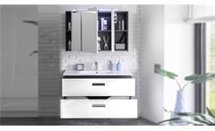 Badezimmer Set Manhattan 2-tlg grau weiß Hochglanz Badmöbel mit Becken & LED