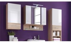Spiegelschrank Barolo Badezimmer Bad Schrank Spiegel weiß glanz Sonoma Eiche