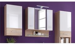 Badezimmer Set Barolo 5-teilig Bad Schrank Badmöbel Sonoma Eiche weiß mit LED