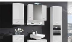 Spiegelschrank Barolo Badezimmer Bad Schrank Spiegel weiß glanz mit Beleuchtung