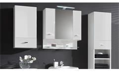 Badezimmer Set Barolo 5-teilig Bad Schrank Badmöbel weiß Hochglanz mit LED