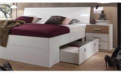 Schlafzimmer Set Kleiderschrank Victor 4 Bett mit LED 180x200 zwei Nachtkommoden