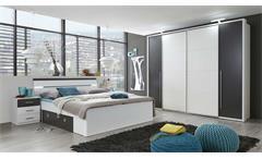 Schlafzimmer Set Kleiderschrank Match 2 Bett mit LED 180x200 zwei Nachtkommoden