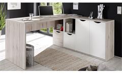 Winkelschreibtisch Quadro Büro Ecktisch PC Schreibtisch Sandeiche weiß 160x145