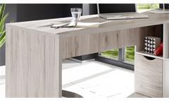Winkelschreibtisch Quadros Büro Ecktisch PC Schreibtisch Sandeiche weiß 160x145