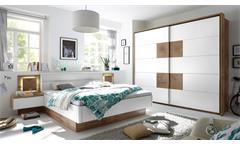 Schlafzimmer Capri Bett Schrank Nachtkommode Wildeiche weiß Hirnholz inkl. LED
