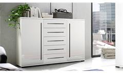 Sideboard Long Anrichte Kommode in weiß Hochglanz mit 5 Schubkästen und 2 Türen