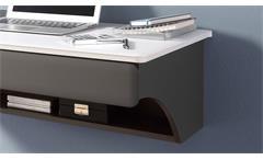 Büro Desk Schreibtisch Wandboard Kombi Set in MDF weiß matt und lava 2-teilig