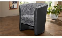Cocktailsessel PELE Sessel schwarz mit Sitz in Webstoff anthrazit