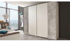 Schwebetürenschrank MATCH 2 Schrank in Weiß und Beton 270 cm