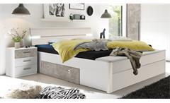 Bettanlage MARS XL Bett weiß Beton mit LED und Bettkasten
