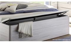 Bettanlage Mars XL weiß Beton inkl. LED und Bettkasten Bett Nachtkommode