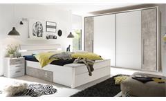 Schlafzimmer Set MATCH MARS mit Kleiderschrank Bettanlage weiß Beton