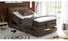 Boxspringbett Concort Bett in Stoff stone inkl. Motor und Topper 120x200 cm