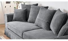 Sofa 3-Sitzer Yankee Cord Stoff anthrazit inkl. Schlaffunktion Bettkasten 253 cm