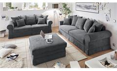 Sofa 2-Sitzer Yankee Cord Stoff anthrazit inkl. Nosagfederung und Kissen 222 cm