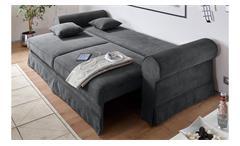 Sofa Garnitur Yankee in Cord Stoff anthrazit inkl. Schlaffunktion und Bettkasten