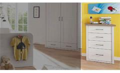 Kommode Luca Schubkastenkommode Sideboard für Babyzimmer Pinie weiß und Trüffel