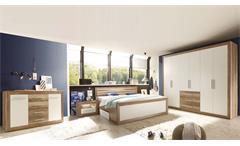 Schlafzimmer FERNANDO Canyon Oak weiß komplett mit Sideboard