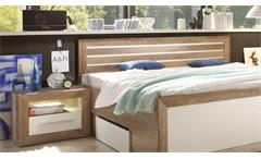 Schlafzimmer Fernando Set mit Schrank Bett Nako Sideboard Canyon Oak weiß LED