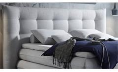 Boxspringbett Milford 2 Bett Doppelbett in Stoff silber inklusive Topper 180x200
