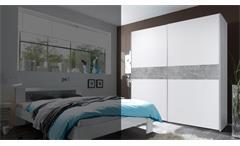 Schwebetürenschrank Victor 2 Kleiderschrank Schrank in weiß und Beton 170