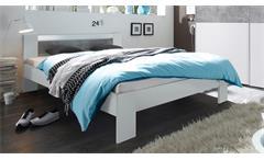 Bett Vega Futonbett in weiß und Beton mit Rollrost und Matratze 140x200 cm