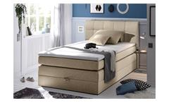 Boxspringbett NEW BEDFORD 1 in Stoff beige Federkern Bettkasten 120 cm