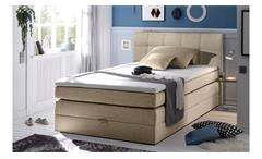 Boxspringbett NEW BEDFORD 1 in Stoff beige Federkern Bettkasten 140 cm
