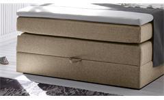 Boxspringbett New Bedford 1 Stoff beige Bonell-Federkern mit Bettkasten 140x200