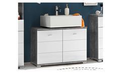 Waschbeckenunterschrank Pool Badezimmer in Beton Optik und weiß