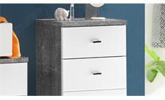 Kommode Pool Badezimmer Schrank in Beton grau und MDF weiß 1 Tür 1 Schubkasten