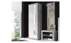 Garderobenschrank Stone Dielenschrank in Beton Optik grau und weiß Glanz Spiegel