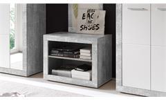 Garderobenbank Stone Bank in Beton Optik grau und weiß Glanz inkl. Stauraum