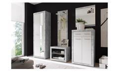 Garderobe Stone Komplettset in Beton Optik grau und weiß Glanz mit Spiegel 5-tlg