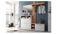Kompaktgarderobe Garderobe Flurmöbel Milano weiß Wildeiche mit Spiegel 4-teilig