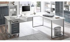 Winkelschreibtisch Office Lux Schreibtisch Büro Eckschreibtisch lichtgrau weiß