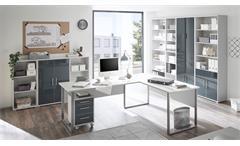 Schrank Office Lux 2-türig lichtgrau weiß und Glas graphit lackiert mit Schloss