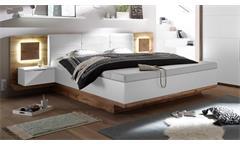 Bettanlage Capri XL Wildeiche weiß Hirnholz mit Nachtkommoden und LED 180x200
