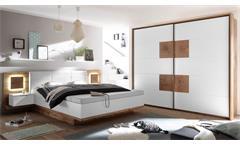 Schlafzimmer Capri XL Set Bettanlage Kleiderschrank Wildeiche weiß Hirnholz LED