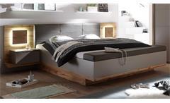 Bettanlage Capri XL Wildeiche grau Hirnholz mit Nachtkommoden und LED 180x200