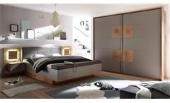 Schlafzimmer Capri XL Set Kleiderschrank Bettanlage  Wildeiche grau Hirnholz LED