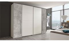 Schwebetürenschrank Match 2 Drehtüren Schrank 315 cm Kleiderschrank Weiß Beton