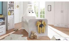 Babybett Luca Gitterbett Kinderbett mit Schlupfsprossen Pinie weiß 70x140