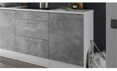 Küchenblock Turn Küche Einbauküche Küchenzeile in Betonoptik und weiß matt