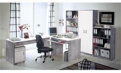 Büro OFFICE COMPACT Komplettset in Betonoptik und weiß 5-teilig